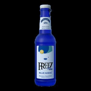Freez-Blue-Hawaii-frisdrank in glas blauwe sparkelend koolzuurhoudend drankje met trekdop